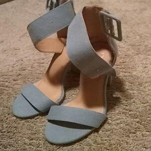 Light denim heels